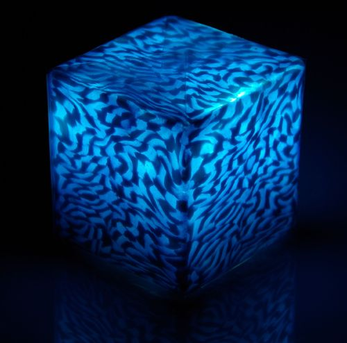 LED Kerze Cube small Ice Blue