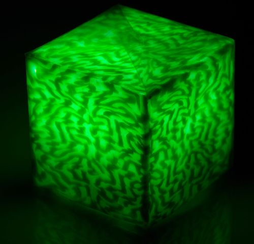 LED Kerze Cube small Ice Green
