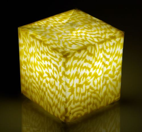 LED Kerze Cube small Ice Yellow